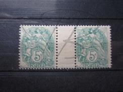 BEAUX TIMBRES DE FRANCE N° 111 EN PAIRE AVEC INTERVALLE , XX !!! - 1900-29 Blanc