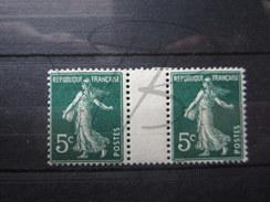 BEAUX TIMBRES DE FRANCE N° 137 EN PAIRE AVEC INTERVALLE , X !!! - 1906-38 Semeuse Con Cameo
