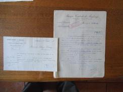 MAUBEUGE BANQUE CENTRALE DE MAUBEUGE  COURRIERS DES 12 FEVRIER ET 25 SEP 1918 CACHET GEPRÜFT P.Ü.St - Banque & Assurance
