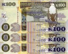 ZAMBIA 100 KWACHA 2014 P-54c UNC 3 PCS [ZM157c] - Zambie