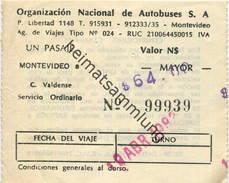 Uruguay - Montevideo 1983 - Organizacion Nacional De Autobuses S.A - Fahrschein N$ 64.00 - Welt