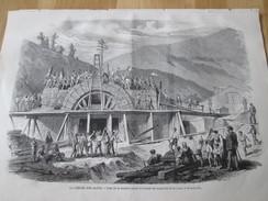 Gravure 1871  La Percée Des ALPES .  Pose De La Dernière Pierre   De L Entrée Du Tunnel Du MONT-CENIS - Zonder Classificatie