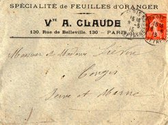 TB 2166 - LSC - Lettre - Spécialité De Feuilles D'Oranger Vve A. CLAUDE à PARIS - Marcophilie (Lettres)