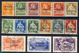Société De Nations 1922 Serie 17-31 (15 Valori Usati, Senza Alcun Difetto) Cat. € 510 - Servizio
