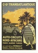 Postcard Travel Poster Art Cie Gle Transatlantique North Africa Coach Trip Bus - Publicité