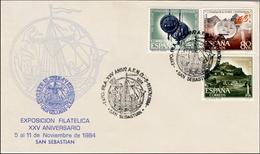 1984 San Sebastian. Sobre Conmemorativo. 25 Aniversario Asociacion Filatélica Guipuzcoana. Barco - Ship. - Exposiciones Filatélicas