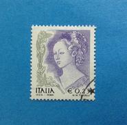 2002 ITALIA FRANCOBOLLO USATO STAMP USED DONNA NELL'ARTE 0,23 - 6. 1946-.. Repubblica