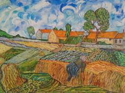 La Ferme Du Père Eloi,Auvers.D'après Van Gogh .la Feuille:500 X 324 Mm.Acrylique Sur Papier Par Debeaupuis.1969 - Acryliques