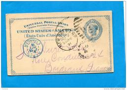 """Marcophilie-Carte """"Southern Pacific"""" Ent Postal US 2 Cents Bleu-cad New Orleans1891 >Françe Bordeaux Via Paris Etranger"""