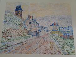 Entrée De Village à Vétheuil Sous La Neige.D'après Claude Monet.feuille:560 X 432 Mm.Acrylique Sur Papier Par Debeaupuis - Acrilici