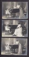Série De 3 CPA La Leçon De Piano Femme Et Fillette élégante - Tapis Peau D' Ours Blanc - Musik Und Musikanten