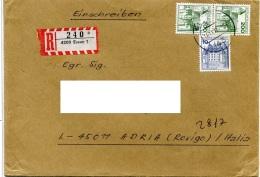 BDR  1977  Cover Registered  Essen - Adria Rovigo Italia - [7] Repubblica Federale