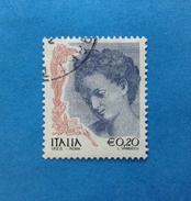 2002 ITALIA FRANCOBOLLO USATO STAMP USED - DONNA NELL'ARTE 0,20 - - 6. 1946-.. Repubblica