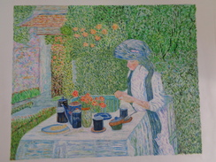 Salon De Thé Français.D'après Childe Hassam.la Feuille:460 X 390 Mm.Acrylique Sur Papier Par Debeaupuis.1982 - Acryliques