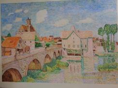 Le Pont De Moret.D'après Alfred Sisley.la Feuille:600 X 450 Mm.Acrylique Sur Papier Par Debeaupuis.1979 - Acrylic Resins
