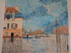 L'inondation.D'après Alfred Sisley.la Feuille:540 X 460 Mm.Acrylique Sur Papier Par Debeaupuis.1976 - Acryliques