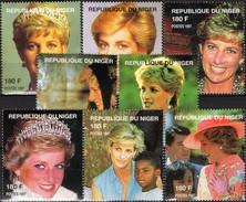 Porträt Mode Schmuck Blumen Princess Diana 1998 DuNiger Aus 8 Blocks ** 48€ Blocs Lady Di Wales Ss Stamps Bf AFRICA - Vignettes De Fantaisie
