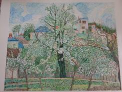 Potager Et Arbres En Fleurs.D'après Camille Pissaro.la Feuille:540 X 470 Mm.Acrylique Sur Papier Par Debeaupuis.1975 - Acryliques