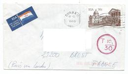 120 TPE - LETTRE REPUBLIQUE AFRIQUE DU SUD - DURBAN- 1988 - LETTRE TAXÉE - Afrique Du Sud (1961-...)