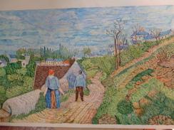 Chemin Sur Une Colline Près De Pontoise.D'après Camille Pissaro.feuille:650 X 430 Mm.Acrylique Sur Papier Par Debeaupuis - Acryliques