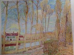 Le Canal Du Loing.D'après Alfred Sisley.la Feuille:610 X 485 Mm.Acrylique Sur Papier Par Debeaupuis.1972 - Acryliques