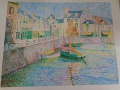 Le Port -bassin Du Croisic Au Soleil.D'après Le Sidaner.la Feuille:590 X 460 Mm.Acrylique Sur Papier Par Debeaupuis - Acrilici