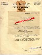 87 - LIMOGES- LETTRE MAX DASPET- CUIRS PEAUX-MEGISSERIE-TANNERIE-GANTERIE-119 RUE FRANCOIS PERRIN- 1952 - Frankreich