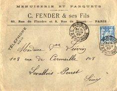 TB 2167 - LSC - TB Type Sage Papier Quadrillé Sur Lettre Menuiserie C.FENDER & Fils à PARIS Pour LEVALLOIS PERRET - Marcophilie (Lettres)