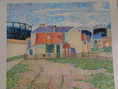 Gazomètre à Clichy.d'après Signac.la Feuille:478 X 430 Mm.Acrylique Sur Papier Par Debeaupuis.1977 - Acryliques