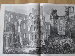 Gravure 1871 Les Ruines De L Hotel De Ville  PARIS Mairie Salle De Bal  Palier - Vieux Papiers