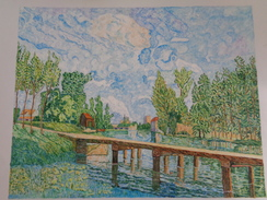 La Passerelle,Moret Sur Le Loing.d'après Alfred Sisley.la Feuille:568 X 439 Mm.Acrylique Sur Papier Par Debeaupuis.1975 - Acryliques