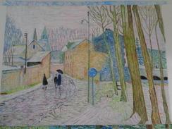 Hiver 1942.d'après Pierre Montézin.la Feuille:500 X 325 Mm.Acrylique Sur Papier Par Debeaupuis.1982 - Acryliques