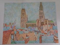 Toits Du Vieux Rouen,temps Gris.d'après Camille Pissaro.la Feuille:560 X 440 Mm.Acrylique Sur Papier Par Debeaupuis.1983 - Acryliques