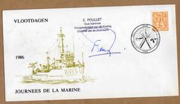 Enveloppe Cover Brief 2159 Vlootdagen Bateau Journées De La Marine Signé Vice-amiral Poullet Brugge - België