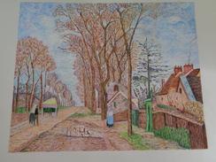 La Route De Saint Germain à Louveciennes.D'après C.Pissaro.feuille:580 X 468 Mm.Acrylique Sur Papier Par Debeaupuis - Acryliques