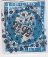 N° 14 Ac  Bleu Sur Azuré  -  PC  2199  MULHOUSE  /  HAUT-RHIN    - LOT 12118 - 1853-1860 Napoleon III