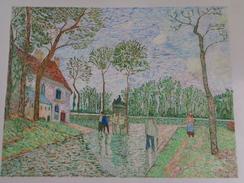 Diligence à Louveciennes.D'après Camille Pissaro.feuille:535 X 425 Mm.Acrylique Sur Papier Par Debeaupuis.1975 - Acryliques