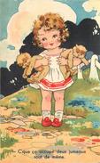 PETITE FILLE ET OURSONS (Jouets)- Carte Illustrée,c'que ça Occupe Deux Jumeaux Tout De Même. - Cartes Humoristiques