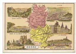 Rhône Département Carte Géographique Chromo 100 X 68 Mm Ss Pub TB Lyon Villefranche Anse Mont D'Or St Didier - Trade Cards