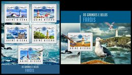 GUINEA BISSAU 2016 - Lighthouses, Seagulls, M/S + S/S. Official Issue
