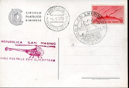 18123 San Marino, Special Postmark 1950 Helicopter Flight 4.9.1950 Postal Transport By Helicopter