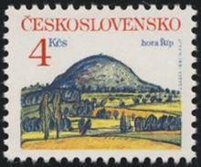 Czechoslovakia / Stamps (1991) 2984: Rip Mountain (Late Oligocene Volcano); Painter: Josef Saska