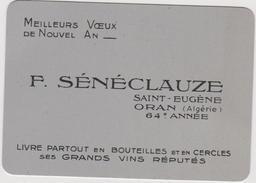 Vieux Papier:-  Carte Nouvel An  F Sénéclauze  Oran , Vin  , Calendrier  1955 - Vieux Papiers