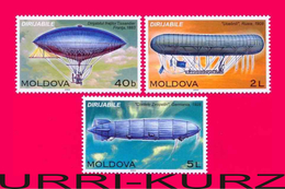 MOLDOVA 2003 Technics Aviation Aeronautics Airships Dirigibles Zeppelins 3v Mi 456-458 MNH - Airships