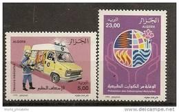 Algerie 1996 N° 1116 / 7 ** Protection Civile, Secours Médicalisé, Fleur, Feu, Innondation, Pompiers, Camionnette - Argelia (1962-...)