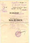 NOTE DE SERVICE DE 1914 . ETAT MAJOR 16° CORPS D'ARMEE - Dokumente