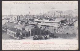 Genova Ferovah Genua  Ponte Frederico Gugliemo AK 1902 Mit Flaggenstempel, Hafen Dampfer - Genova (Genoa)