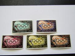 JO201    Yemen  Flambeau - Anneaux / Torch - Olympic Rings  MNH  Mi 200-204