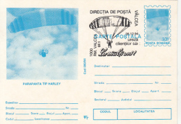 55695- HARLEY PARAGLIDER, PARACHUTTING, POSTCARD STATIONERY, 1994, ROMANIA