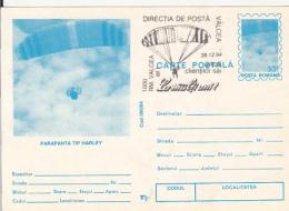 55700- HARLEY PARAGLIDER, PARACHUTTING, POSTCARD STATIONERY, 1994, ROMANIA
